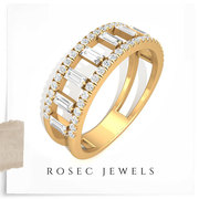 Double Band Half Eternity Diamond Ring